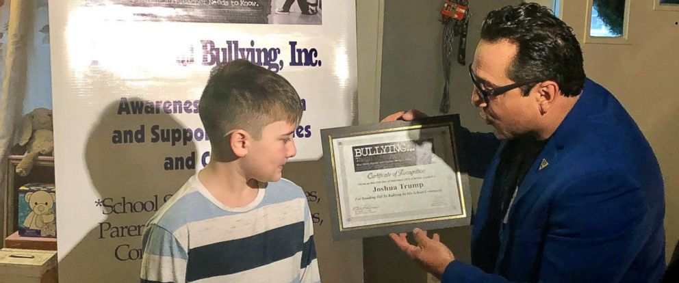 PHOTO: Joshua Berto, the 9-year-old who changed his last name from Trump after he was bullied at school, was honored by anti-bullying organization Teach Anti Bullying with the Medal of Courage award.