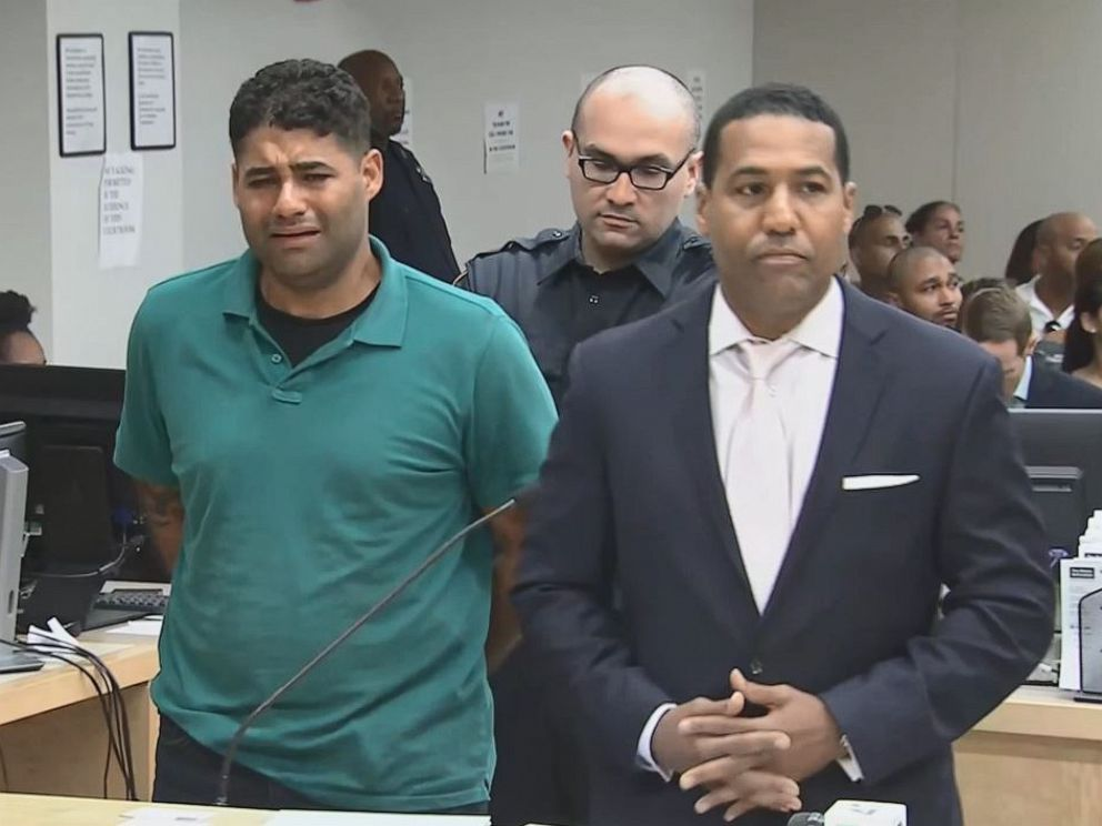 PHOTO: Juan Rodriguez, left, who spent much of his first court appearance in tears, pleaded not guilty to criminally negligent homicide after his 1-year-old twins died in a hot car after forgetting to drop them off at day care on Friday, July 27, 2019.