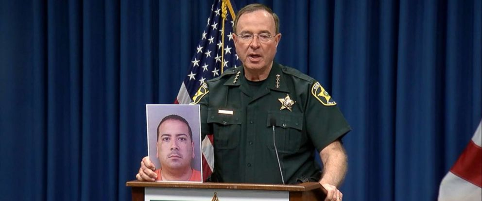 PHOTO: Polk County, Florida, Sheriff Grady Judd holds a news conference on Feb. 6, 2019, to discuss the arrest of Charles Aguon, the headmaster of a private Christian school, who is suspected of grooming and molesting a 15-year-old student.