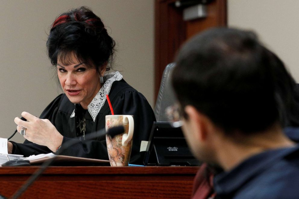 PHOTO: Circuit Court Judge Rosemarie Aquilina addresses Larry Nassar, a former team USA Gymnastics doctor who pleaded guilty in November 2017 to sexual assault charges, during his sentencing hearing in Lansing, Mich., Jan. 18, 2018.