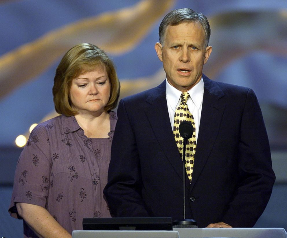 PHOTO: Judy and Dennis Shepard speak at the Democratic National Convention at the Staples Center in Los Angeles, Aug. 16, 2000.