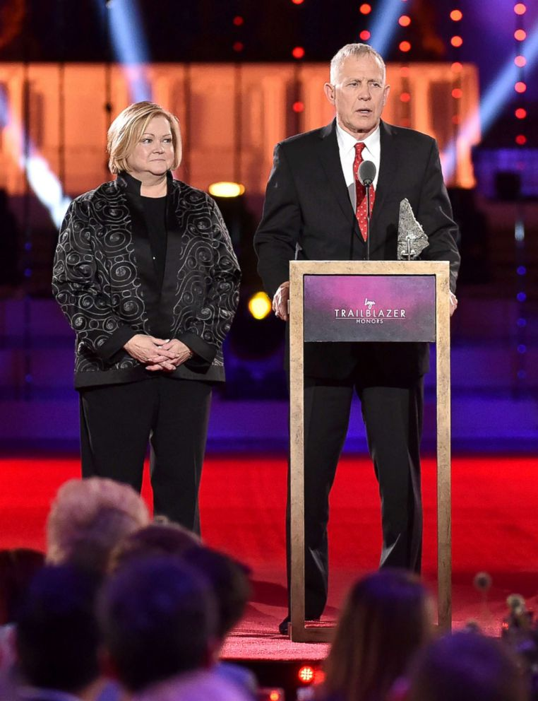 PHOTO: Judy Shepard and Dennis Shepard speak onstage at Logos Trailblazer Honors 2015 at the Cathedral of St. John the Divine in New York City, June 25, 2015.