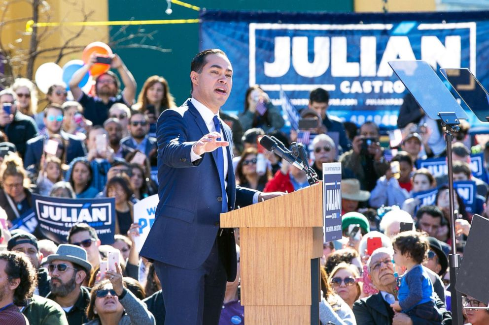 PHOTO: Former U.S. Secretary of Housing and Urban Development Julian n Castro announces his candidacy for President of the United States in his hometown of San Antonio, Texas, Jan. 12, 2019.