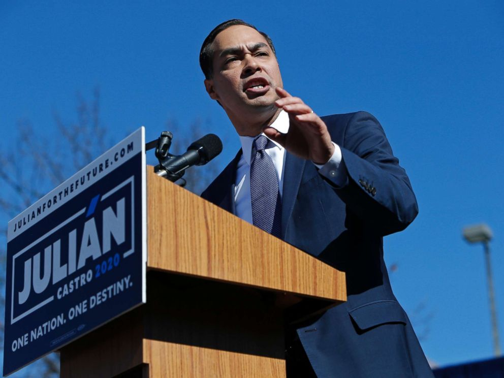 PHOTO: Julian Castro, former U.S. Department of Housing and Urban Development (HUD) Secretary and San Antonio Mayor, announces his candidacy for president in 2020 at Plaza Guadalupe, Jan. 12, 2019.