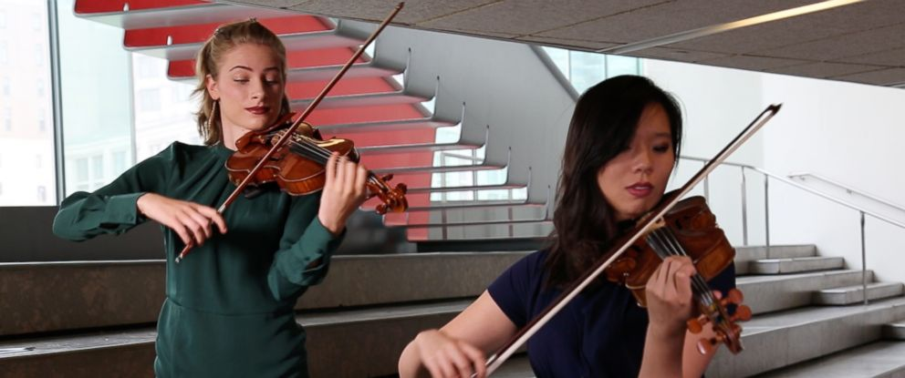 PHOTO: Mariella Haubs and Jocelyn Zhu two Juilliard School alums travel the world playing at refugee camps.