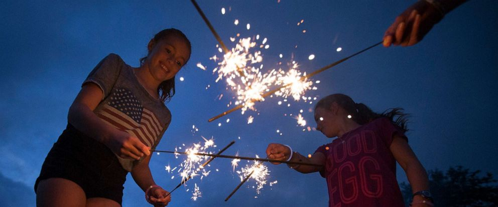 PHOTO: In this file photo, Lila Flynn-Tonbragel, left, plays with sparklers as she waits for Fourth of July fireworks to begin at Ault Park, on July 4, 2016, in Cincinnati.