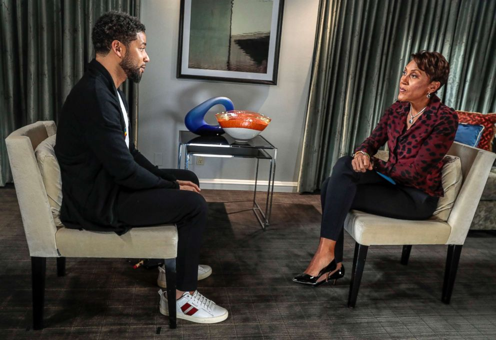 PHOTO: Jussie Smollett speaks with ABC News Robin Roberts, Feb. 13, 2019.