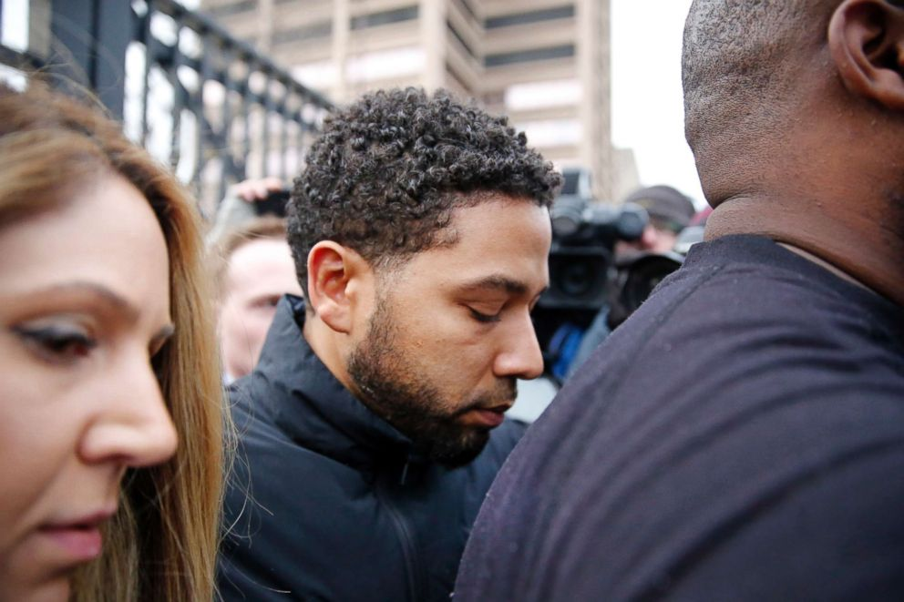 PHOTO: Empire actor Jussie Smollett leaves Cook County jail after posting bond on Feb. 21, 2019, in Chicago.