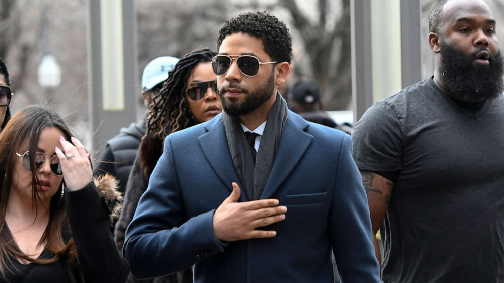 """Empire"" actor Jussie Smollett arrives at the Leighton Criminal Court Building for his hearing in Chicago, March 14, 2019."