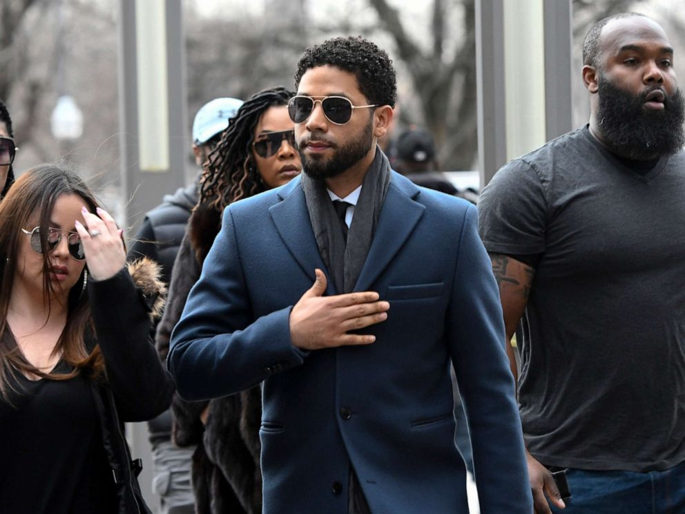 PHOTO: Empire actor Jussie Smollett arrives at the Leighton Criminal Court Building for his hearing in Chicago, March 14, 2019.
