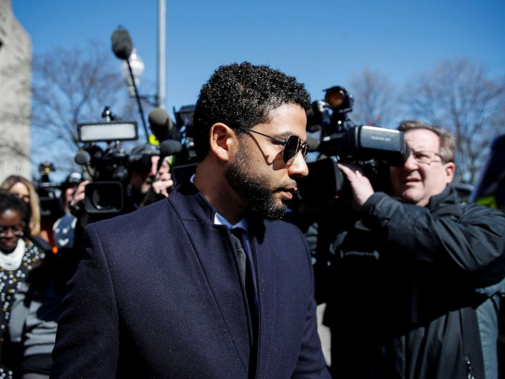 PHOTO: Jussie Smollett leaves court after charges against him were dropped by state prosecutors in Chicago, March 26, 2019.