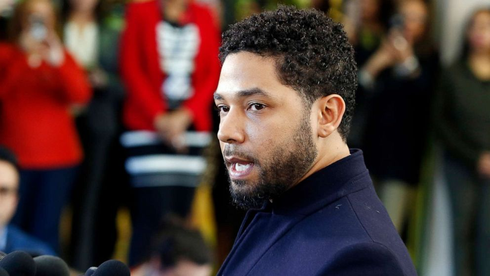 Jussie Smollett speaks with members of the media after his court appearance at Leighton Courthouse on March 26, 2019, in Chicago.