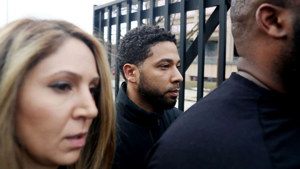 """""""Empire"""" actor Jussie Smollett leaves the Cook County Jail in Chicago, Feb. 21, 2019."""