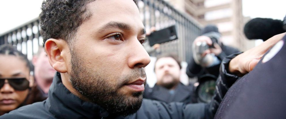 PHOTO: Empire actor Jussie Smollett leaves Cook County jail after posting bond, Feb. 21, 2019, in Chicago.