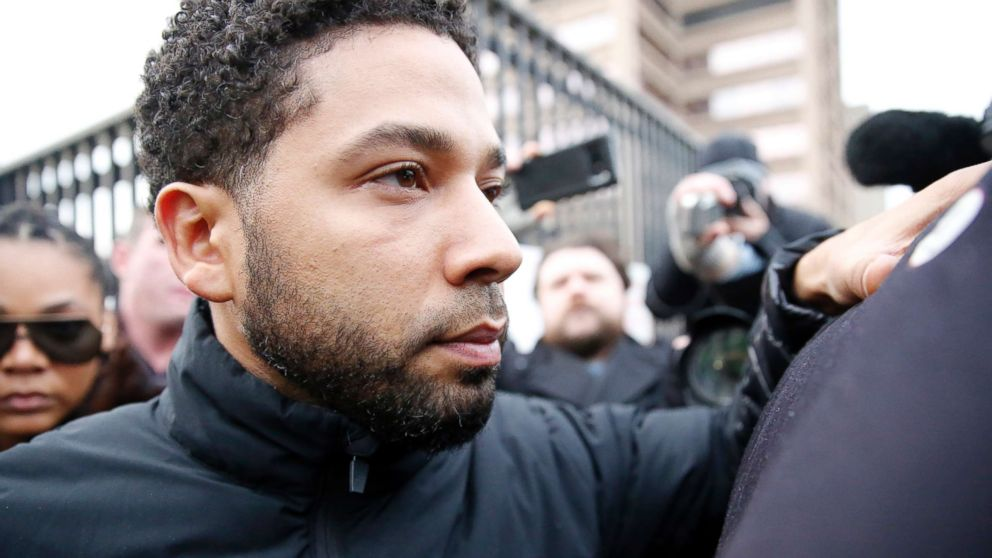 Empire actor Jussie Smollett leaves Cook County jail after posting bond, Feb. 21, 2019, in Chicago.
