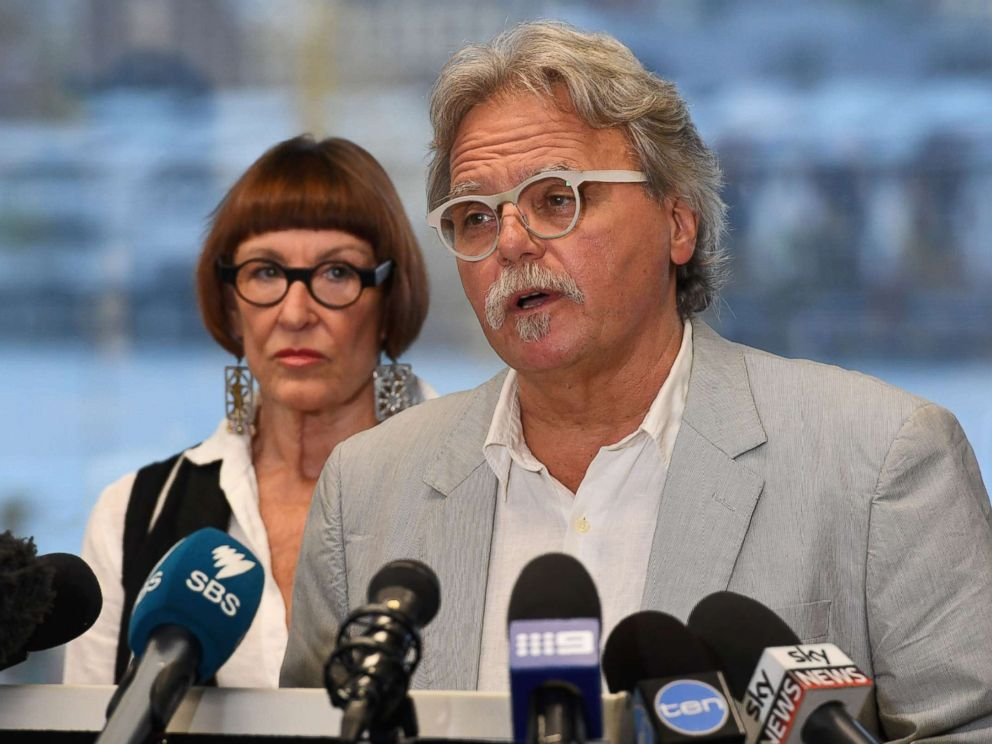 PHOTO: John Ruszczyk, the father of Australian woman Justine Damond who was killed in a police shooting in the U.S., is accompanied by his wife Maryan Heffernan as he speaks at a press conference in Sydney on Dec. 21, 2017.