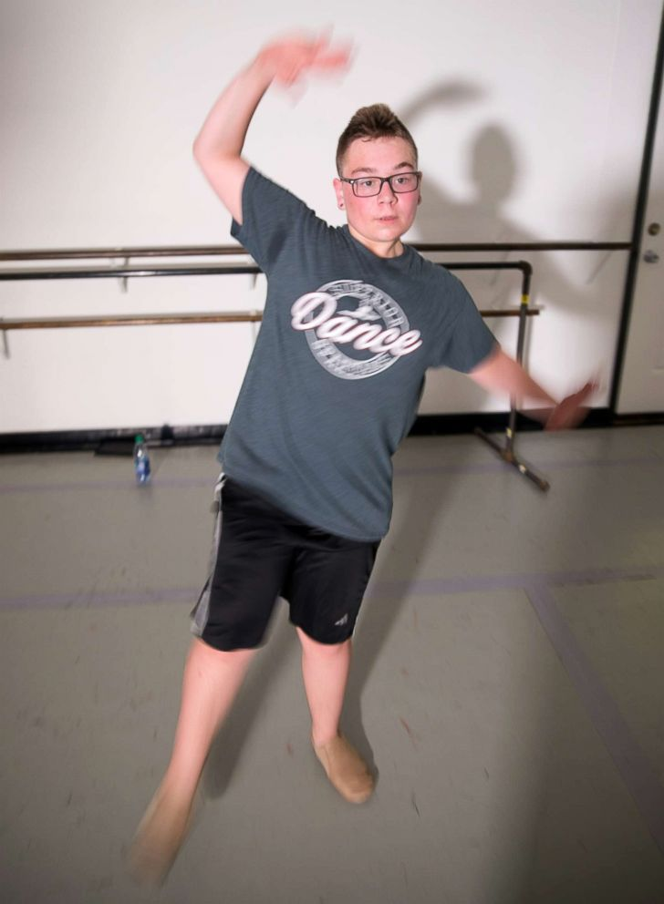 PHOTO: Kaiden Johnson practices in a dance studio in this undated photo.