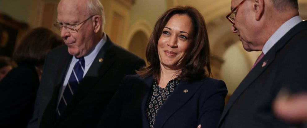 PHOTO: Sen. Kamala Harris talks to reporters following the weekly Democratic Senate policy luncheon at the Capitol, Nov. 27, 2018, in Washington, DC.