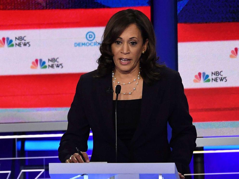 PHOTO: Senator Kamala Harris speaks during the second Democratic primary debate of the 2020 presidential campaign season in Miami, June 27, 2019.