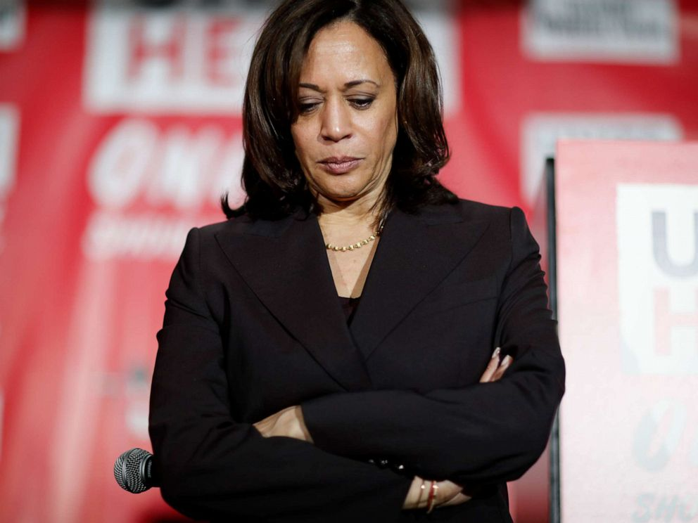 PHOTO: Democratic presidential candidate Sen. Kamala Harris, D-Calif., pauses as she speaks at a town hall event at the Culinary Workers Union, Friday, Nov. 8, 2019, in Las Vegas.
