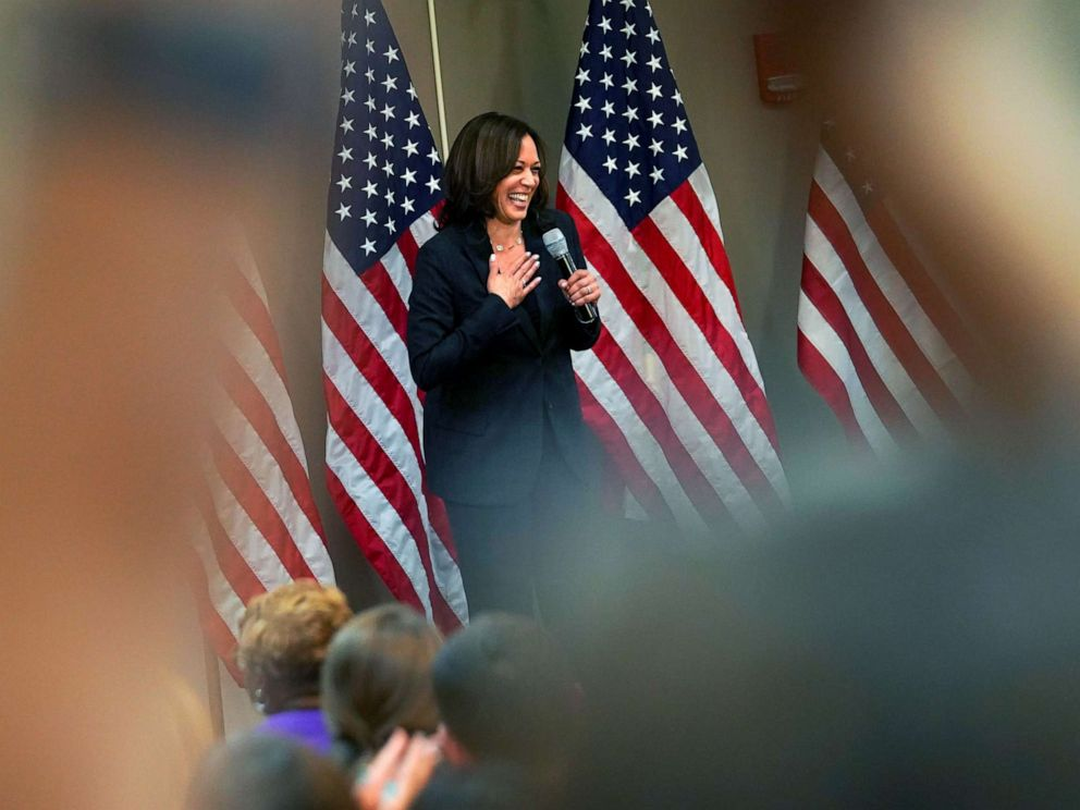 PHOTO: Democratic presidential candidate and U.S. Senator Kamala Harris speaks at a women voters meet and greet in Birmingham, Ala., June 7, 2019.