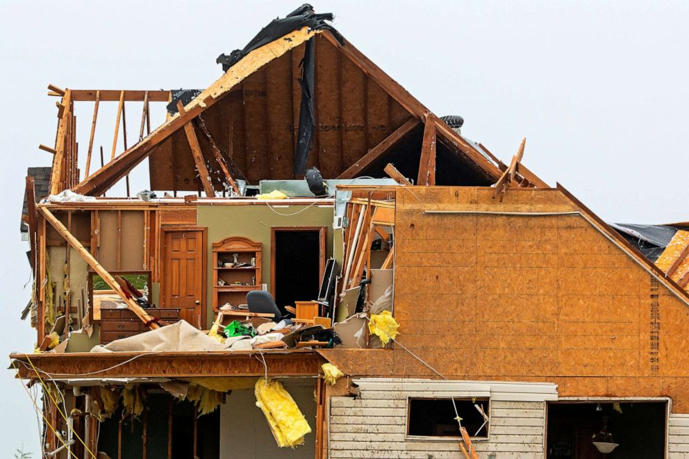 PHOTO: An upstairs room is visible at a damaged house after its walls and ceiling were ripped off when several tornadoes reportedly touched down, in Linwood, Kansas, May 29, 2019.