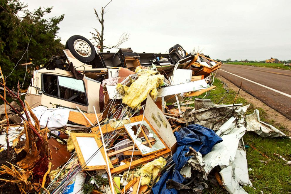 PHOTO: Debris are scattered on top of an overturned truck on a road after several tornadoes reportedly touched down, in Linwood, Kansas, May 29, 2019.
