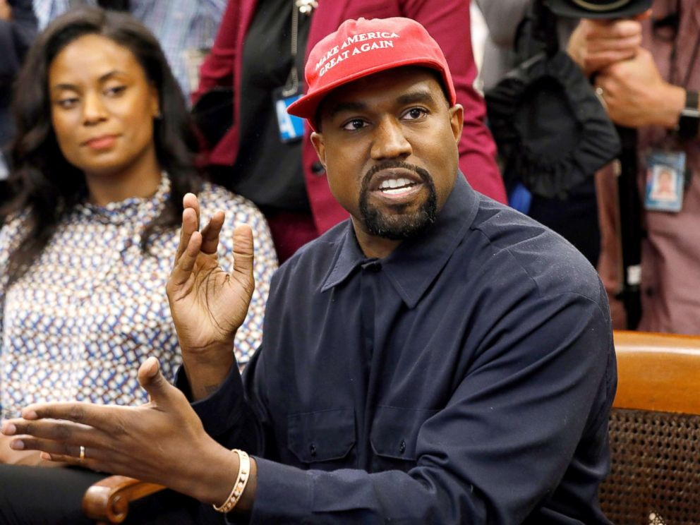 PHOTO: Rapper Kanye West speaks during a meeting with President Donald Trump and others in the Oval Office at the White House in Washington, on October 11, 2018.