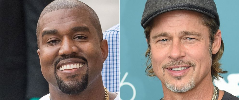 PHOTO: Kanye West is seen at Jimmy Kimmel Live on August 09, 2018, in Los Angeles. | Brad Pitt attends the 76th Venice Film Festival, August 29, 2019 in Venice, Italy.