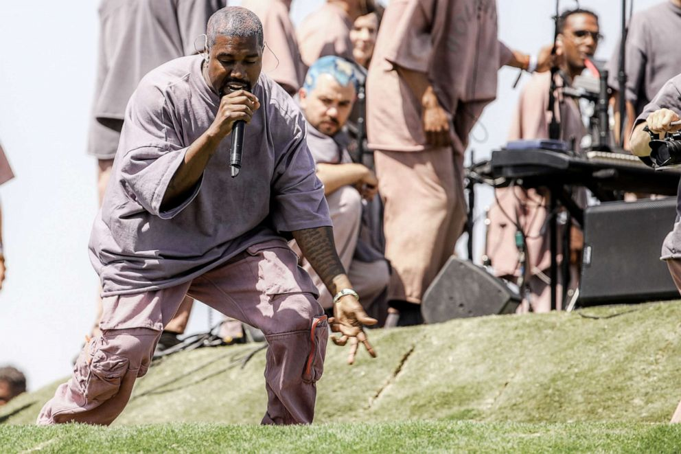 PHOTO: INDIO, CALIFORNIA - APRIL 21: Kanye West performs Sunday Service during the 2019 Coachella Valley Music And Arts Festival on April 21, 2019 in Indio, California. (Photo by Rich Fury/Getty Images for Coachella)