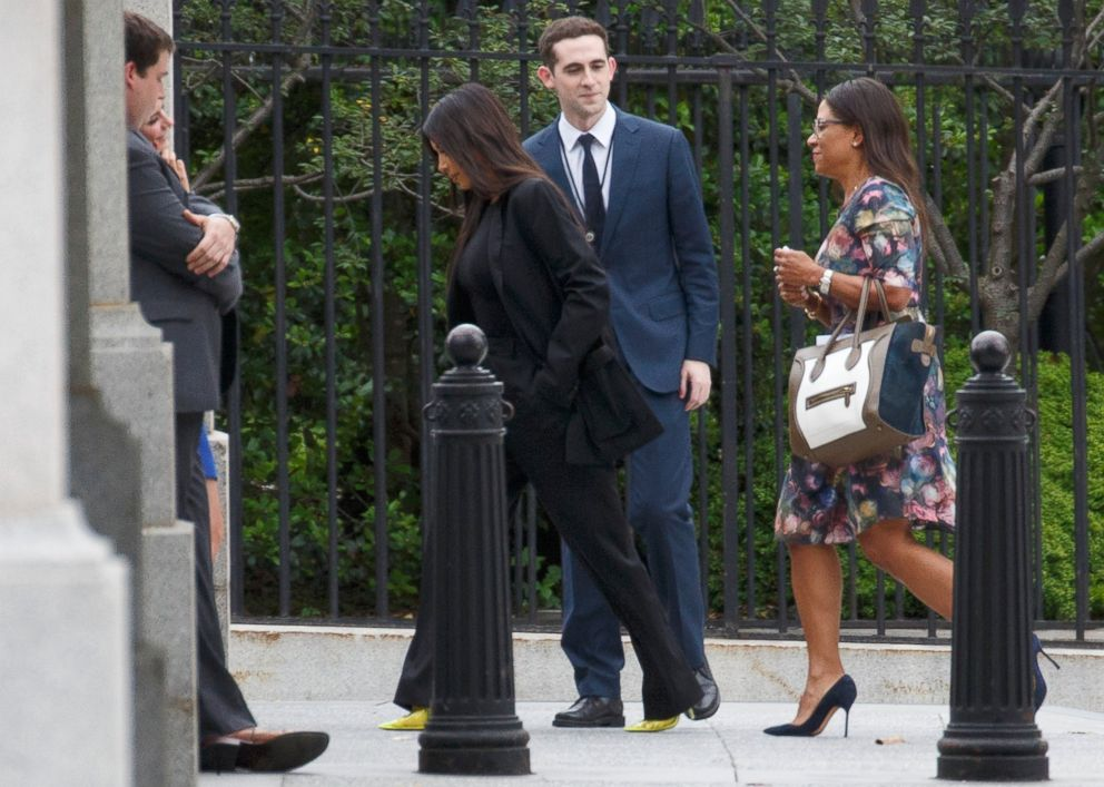 PHOTO: Reality TV star Kim Kardashian arrives for meetings at the White House in Washington, May 30, 2018.