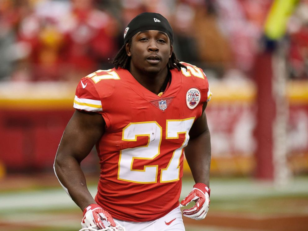 PHOTO: Running back Kareem Hunt of the Kansas City Chiefs runs to the sidelines just before kickoff in the game against the Miami Dolphins at Arrowhead Stadium, Dec. 24, 2017 in Kansas City, Missouri.