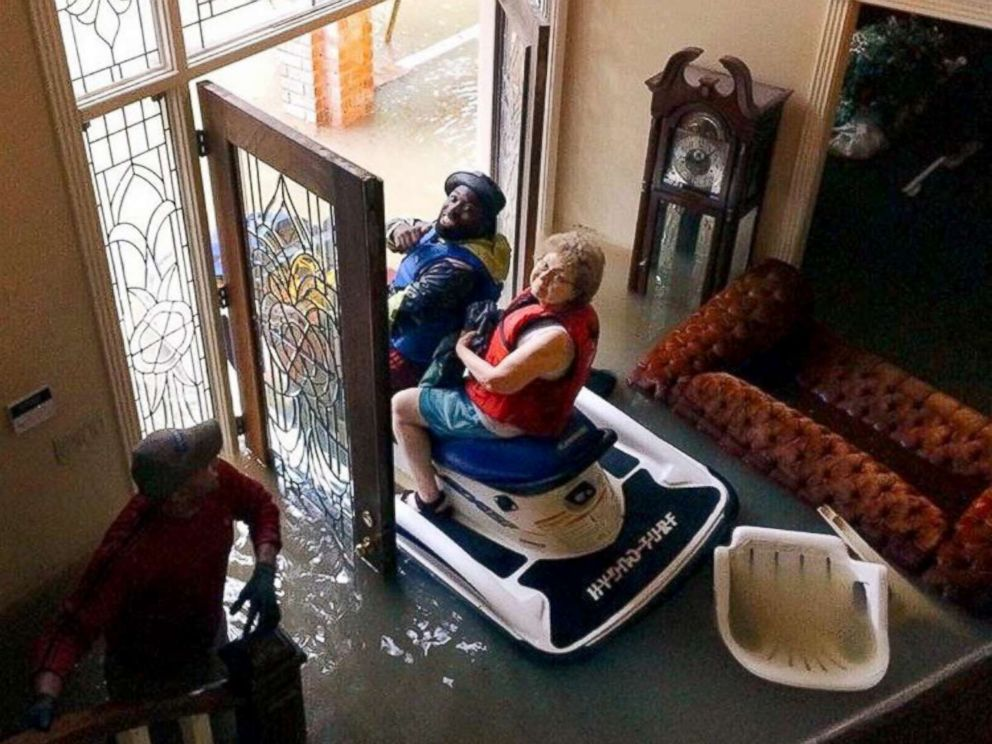 PHOTO: North Houston resident Karen Spencer was rescued from her home on a jet ski.
