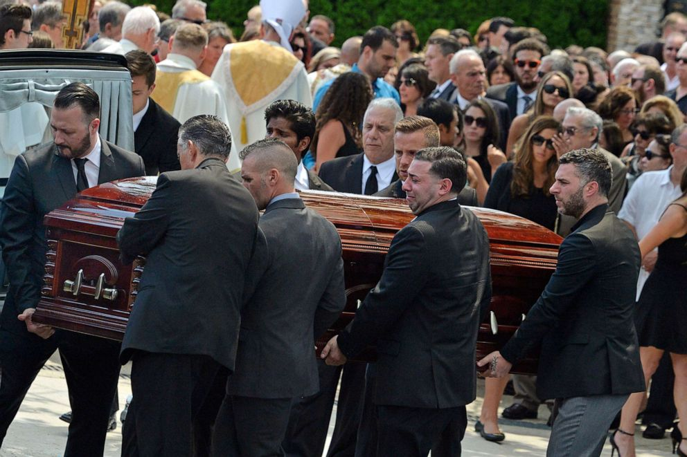 PHOTO: Mourners carry the casket of Karina Vetrano from St. Helens Church following her funeral in the Howard Beach section of the Queens, New York, Aug. 6, 2016.