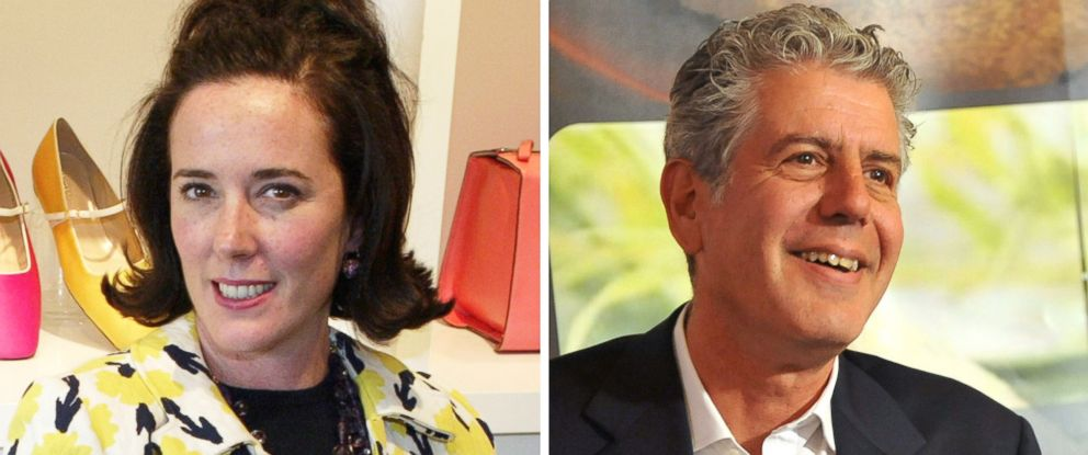PHOTO: Kate Spade is pictured in 2004 and Anthony Bourdain is pictured in 2012.