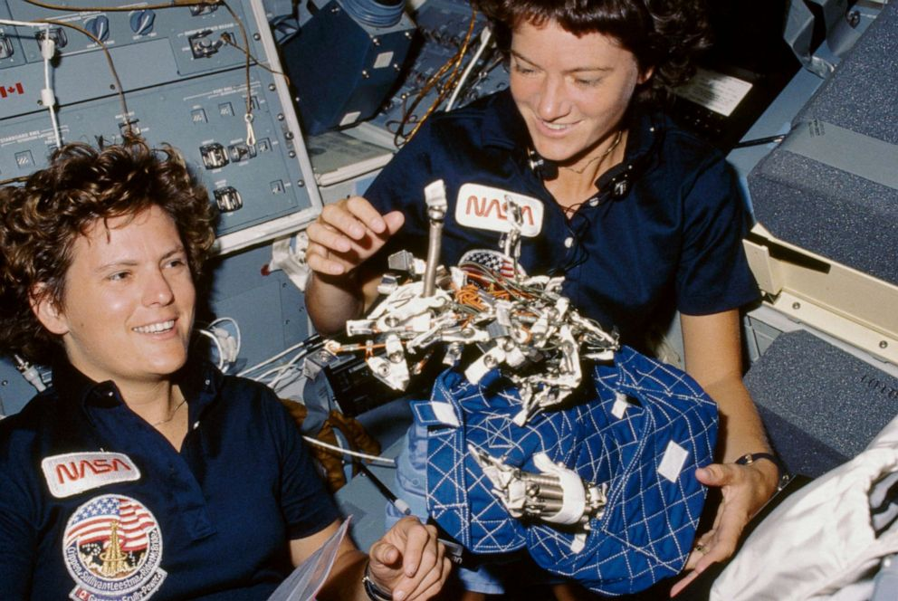 PHOTO: Astronauts Kathryn D. Sullivan, left, and Sally K. Ride are pictured in orbit aboard the Space Shuttle Challenger in October 1984.