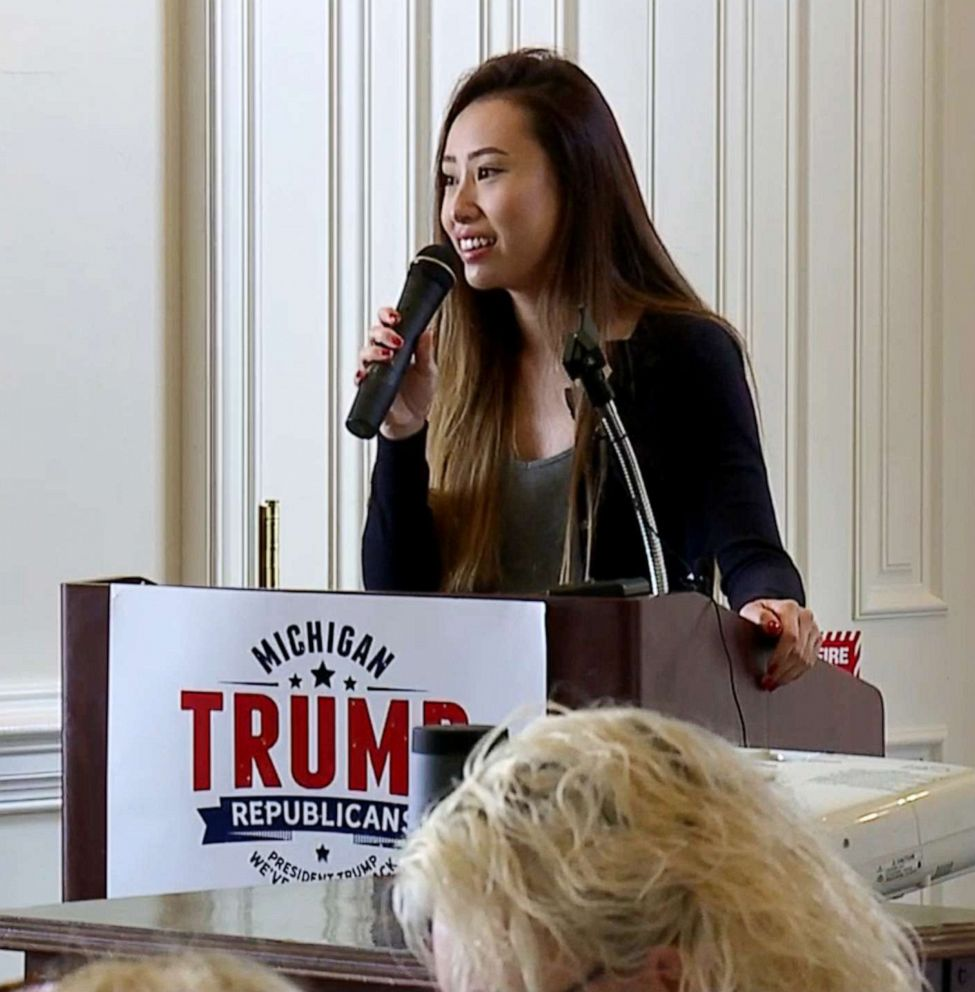 PHOTO: Kathy Zhu speaks at a Women for Trump event in Bloomfield Hills, Mich., July 26, 2019.