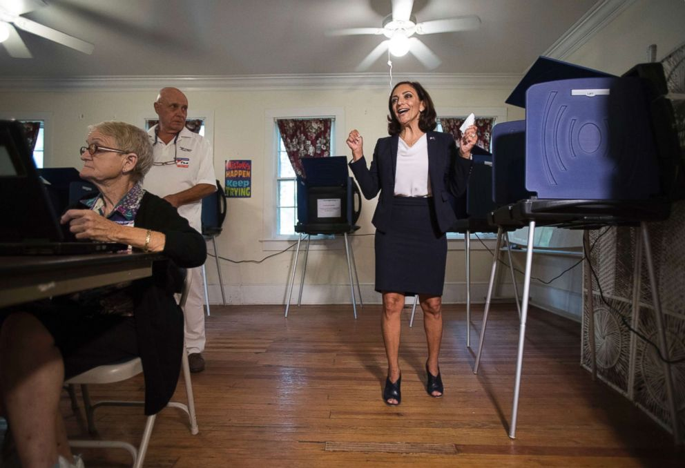 PHOTO: Rep. Katie Arrington, who is running for the first district of South Carolina, celebrates after casting her vote at Bethany United Methodist Church in Summerville, S.C., June 12, 2018.