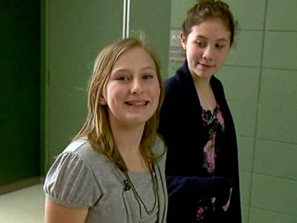 PHOTO: 7th graders Avery Burn and Genae Vanek, pictured here, handed out compact mirrors with positive messages to girls at Rock Creek Middle School in Happy Valley, Ore. on March 19, 2015.