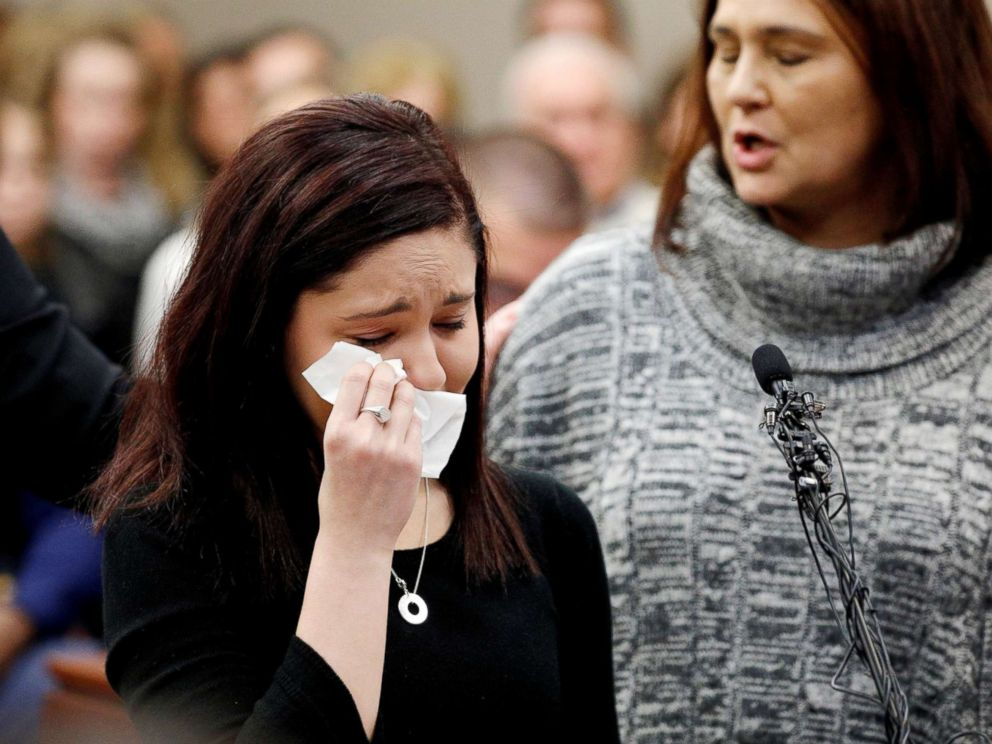 PHOTO: Victim Kaylee Lorincz wipes tears as she speaks at the sentencing hearing for Larry Nassar in Lansing, Mich., on Jan. 24, 2018.