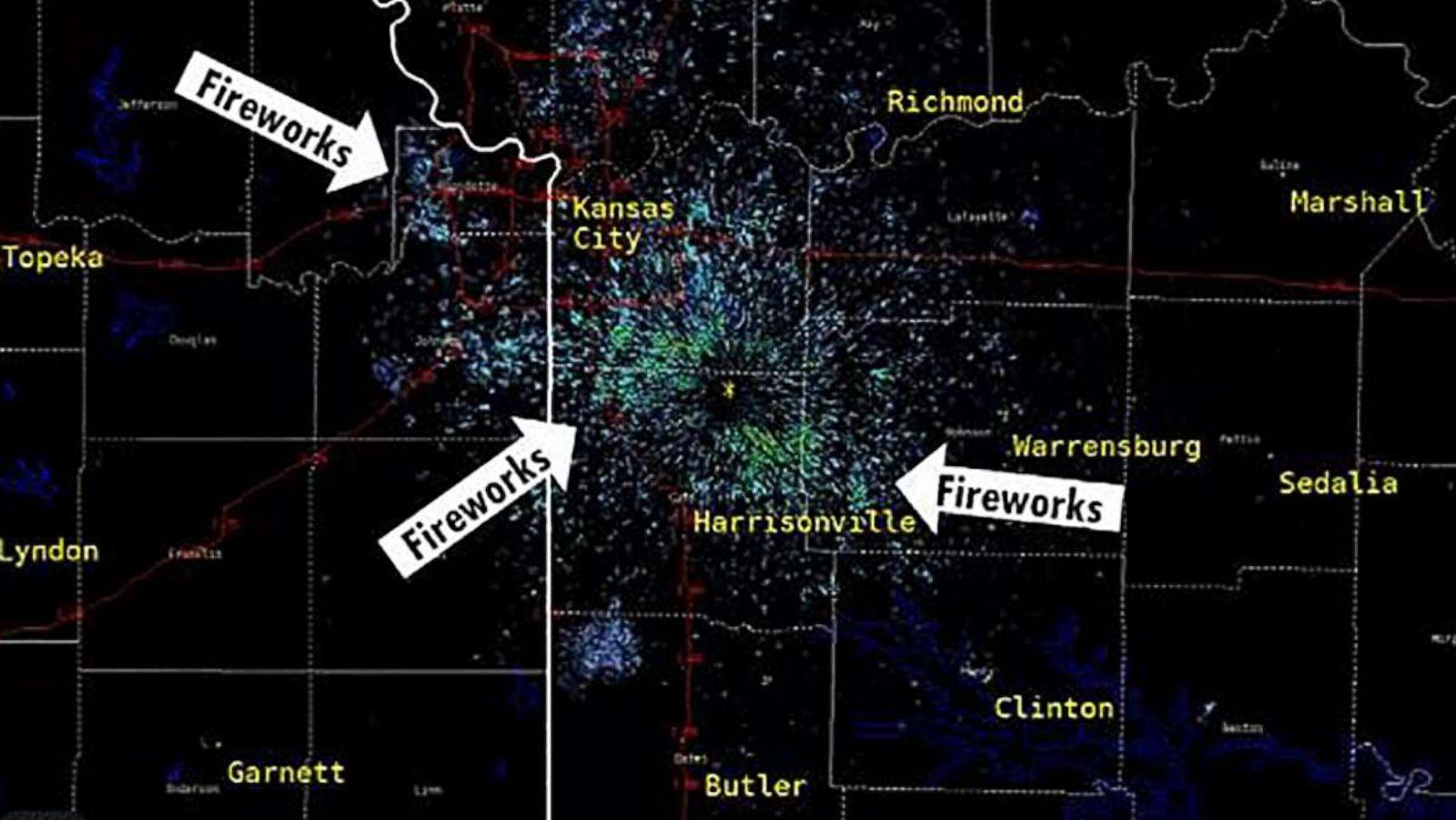 Weather Map Kansas City Kansas City fireworks light up weather map after Chiefs' Super