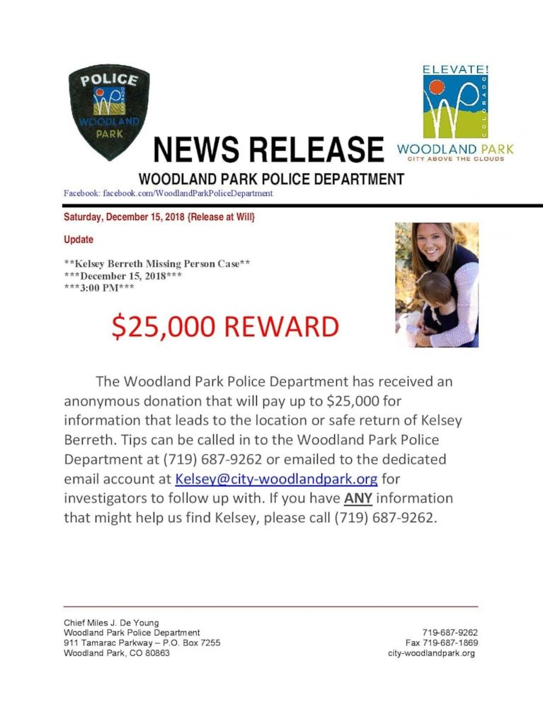 PHOTO: Authorities are now offering $25,000 for information that leads to the safe return of missing Colorado mom Kelsey Berreth. She was last seen on Thursday, Nov. 22, 2018.