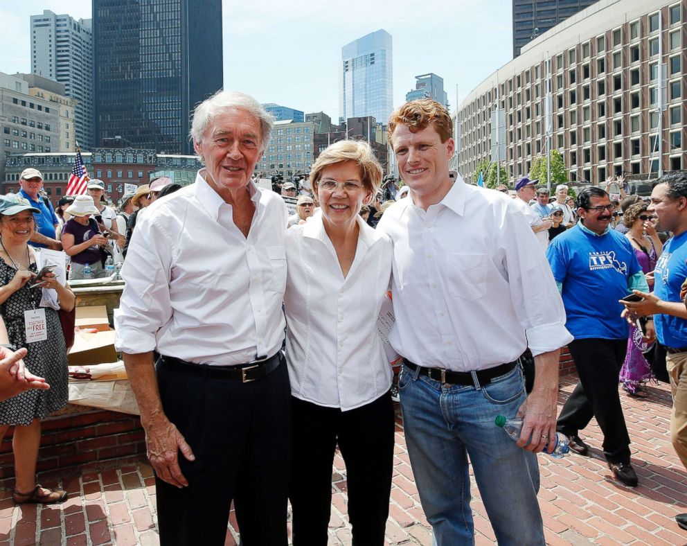PHOTO: Sen. Ed Markey, D-Mass., from left, Sen. Elizabeth Warren, D-Mass. and Rep. Joe Kennedy III, D-Mass., pose for a picture during the Rally Against Separation, June 30, 2018, Tornillo, Texas.