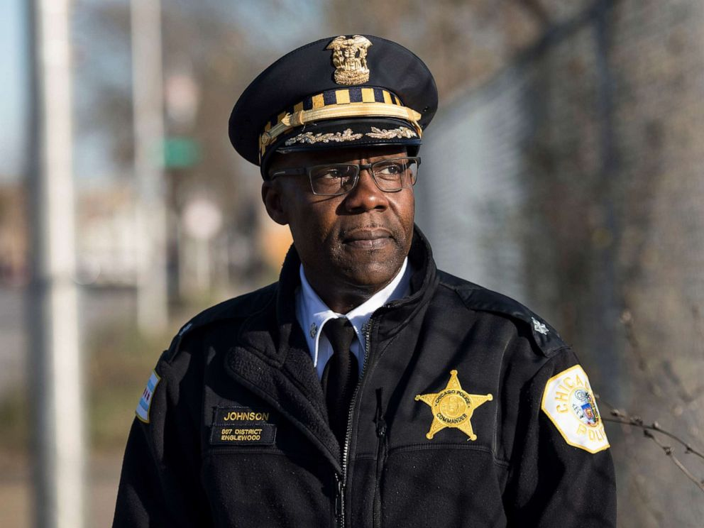 PHOTO: In this Nov. 20, 2017, file photo, Chicago Police Commander Kenneth Johnson is shown near the 7th District Police Station in Chicagos Englewood neighborhood.