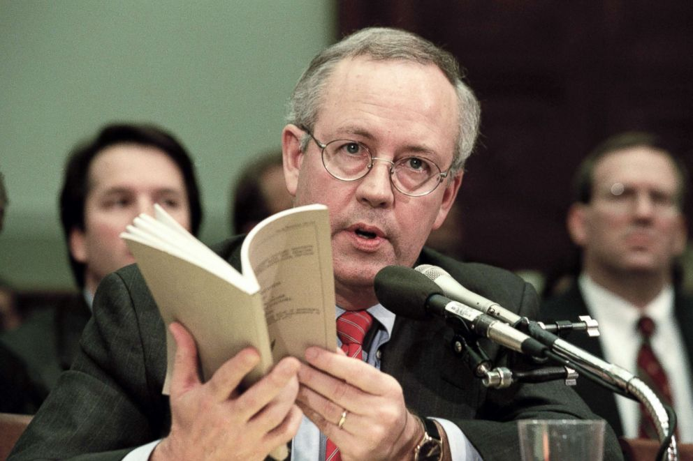 PHOTO: Independent Counsel Kenneth Starr addresses the House Judiciary Committee regarding U.S. President Bill Clintons impeachment in Washington, Nov. 19, 1998.