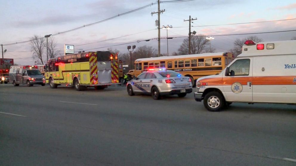 PHOTO: Three school buses were involved in a crash on Dixie Highway in Jefferson County, Kentucky, Dec. 7, 2017.