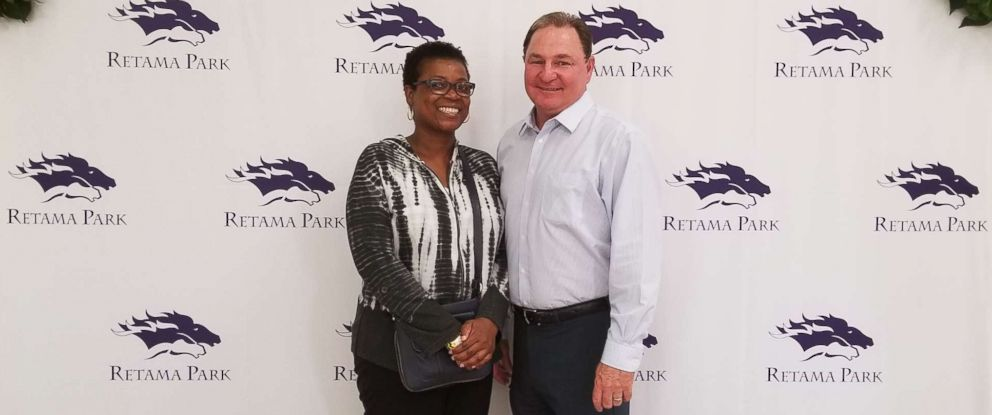 PHOTO: A woman who won $1.2 million on Kentucky Derby day poses in this photo with Bill Belcher, vice president and general manager of the Retama Park race track near San Antonio, where the winning bet was placed.
