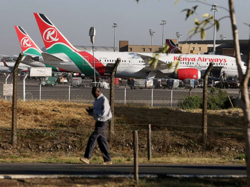 PHOTO: Kenya Airways planes are seen parked at the Jomo Kenyatta International Airport near Nairobi, Kenya, March 6, 2019.