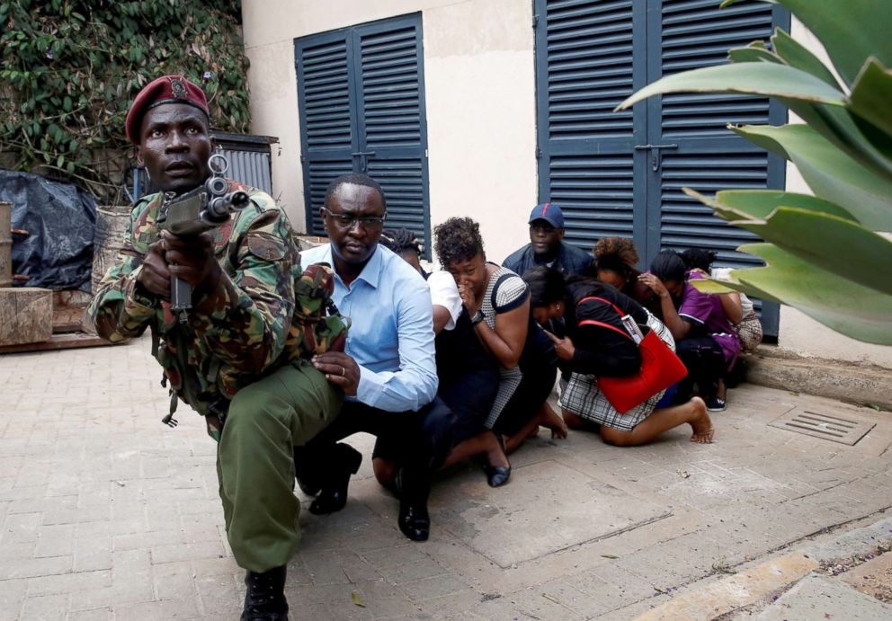 PHOTO: People are evacuated by security forces at the scene where explosions and gunshots were heard at the Dusit hotel compound in Nairobi, Kenya, Jan. 15, 2019.