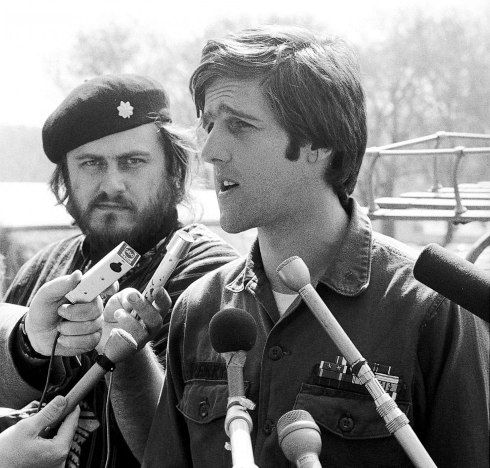 PHOTO: American soldier John Kerry, spokesman for the VVAW (Vietnam Veterans Against the War), speaks to the press at an outdoor event in Washington D.C., April 21, 1971.